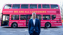 "© Licensed to London News Pictures. 29/03/2019. LONDON, UK.  Mayor of London, Sadiq Khan, launches a branded ""We are all Londoners"" bus as a it begins a four-day ""advice roadshow"" across the capital.  Staff on the bus will visit locations with high numbers of European nationals, offering them guidance on how to apply for Settled Status to remain in the UK following Brexit.  The bus tour coincides with the opening of the Government's EU Settlement Scheme.  Photo credit: Stephen Chung/LNP"
