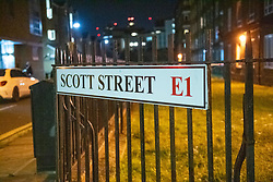 © Licensed to London News Pictures. 20/07/2020. London, UK. A street sign reads Scott Street. An investigation has been launched after a person was rammed by a car in Bethnal Green, the person was rammed by the vehicle into a fence on Scott Street. Photo credit: Peter Manning/LNP