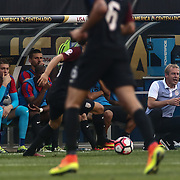 United States Manager JURGEN KLINSMANN, right, watches from the sidelines in the first half of a Copa America Centenario Group A match between the United States and Paraguay Saturday, June. 11, 2016 at Lincoln Financial Field in Philadelphia, PA.