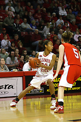 28 January 2007: Tiffany Hudson changes course when confronted by Jen Brown.Before a record crowd or nearly 4200, the Bradley Braves were defeated by the conference leading (9-0) Redbirds of Illinois State University by a score of 55-47 at Redbird Arena in Normal Illinois.