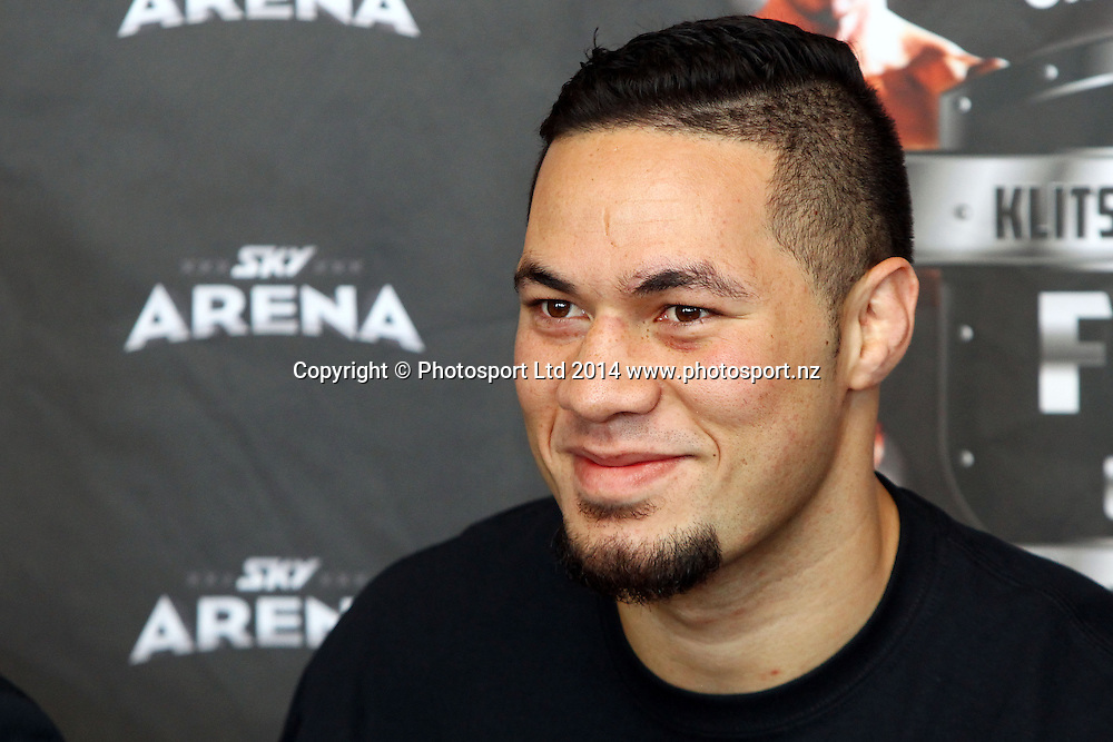 Joseph Parker (pictured) and Sherman 'the tank' Williams attend a press conference ahead of their ight on the Klitschko v Leapai world title undercard, Northern Steamship, Auckalnd. 1 April 2014. Photo: William Booth/www.photosport.co.nz