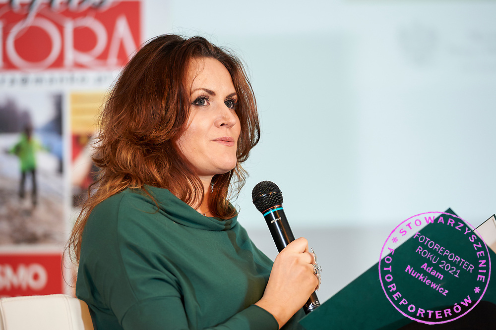 Warsaw, Poland - 2017 April 07: Monika Holdak - advertising strategist, trend analyst speaks during The Day of Health - science conference in the National Library on April 07, 2017 in Warsaw, Poland.<br /> <br /> Mandatory credit:<br /> Photo by © © Adam Nurkiewicz / Mediasport / Mediasport<br /> <br /> Picture also available in RAW (NEF) or TIFF format on special request.<br /> <br /> Any editorial, commercial or promotional use requires written permission from the author of image.<br /> <br /> Adam Nurkiewicz declares that he has no rights to the image of people at the photographs of his authorship.