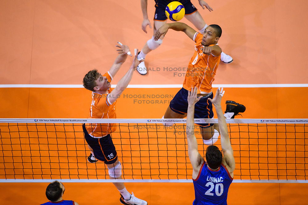 06-01-2020 NED: CEV Tokyo Volleyball European Qualification Men, Berlin<br /> Match Serbia vs. Netherlands 3-0 / Fabian Plak #8 of Netherlands, Gijs van Solkema #15 of Netherlands