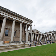 The main entrance to the British Museum in downtown London. The museum is dedicated to human history and culture and has about 8 million works in its permanent collection.
