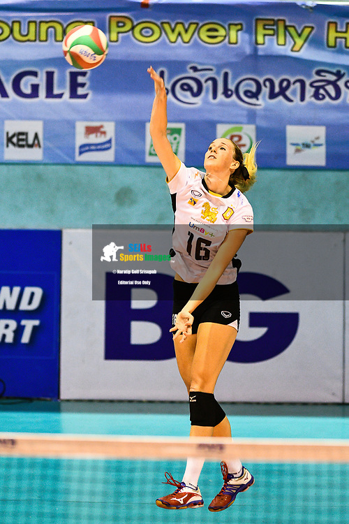 BANGKOK, THAILAND - MARCH 19: Ashley Frazier of Bangkok Glass VC #16 serving during the 2016–17 Women's Volleyball Thailand League, Chantarubeksa Air Force Stadium, Bangkok, Thailand on March 19, 2017.<br /> .<br /> .<br /> .<br /> (Photo by: Naratip Golf Srisupab/SEALs Sports Images)<br /> .<br /> Any image use must include a mandatory credit line adjacent to the content which should read: Naratip Golf Srisupab/SEALs Sports Images