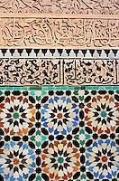 Maroc, Haut Altas, Marrakech, ville impériale, médina classée Patrimoine Mondial de l'UNESCO, médersa Ben Youssef, école coranique // Morocco, Marrakech, coranic school Ben Youssef (Medersa)