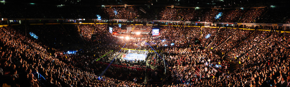 A panoramic picture of the Manchester Evening News Arena in the build up to the Ricky Hatton Vyacheslav Senchenko fight on the 24th November 2012. Hatton Promotions. Pictures by Photographer Leigh Dawney of © Leigh Dawney Photography 2012.