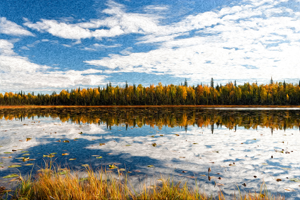 Oil Painting rendition of fall colors are reflected in a lake along the Parks Highway south of Denali National Park in Southcentral Alaska. Fall. Morning.