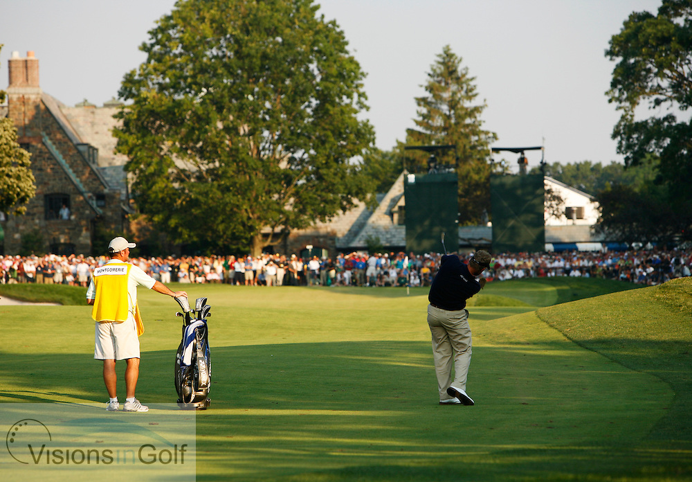 Colin Montgomerie approach shot on the 18th hole where he makes a double bogey on the final day 060617 / Winged Foot GC, NY, USA / USGA Open Championship 2006 <br /> Picture Credit: Robert Walker / visionsingolf.com