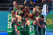 Ireland celebrate winning the shoot out (3-2) during the Vitality Hockey Women's World Cup 2018 Semi-Final match between Ireland and Spain at the Lee Valley Hockey and Tennis Centre, QE Olympic Park, United Kingdom on 4 August 2018. Picture by Martin Cole.