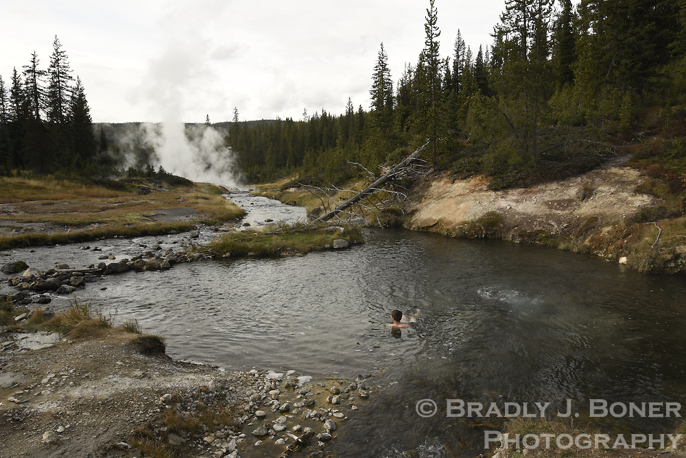 Mr. Bubbles thermal features on the Ferris Fork of the Bechler River, Yellowstone National Park, Wyoming