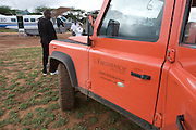 The Earthwatch Land Rover meets the next planeload of volunteers in Wamba, Kenya.