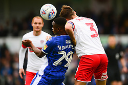 Victor Adeboyejo of Bristol Rovers challenges for the ball with Joe Mattock of Rotherham United - Mandatory by-line: Dougie Allward/JMP - 28/09/2019 - FOOTBALL - Memorial Stadium - Bristol, England - Bristol Rovers v Rotherham United - Sky Bet League One