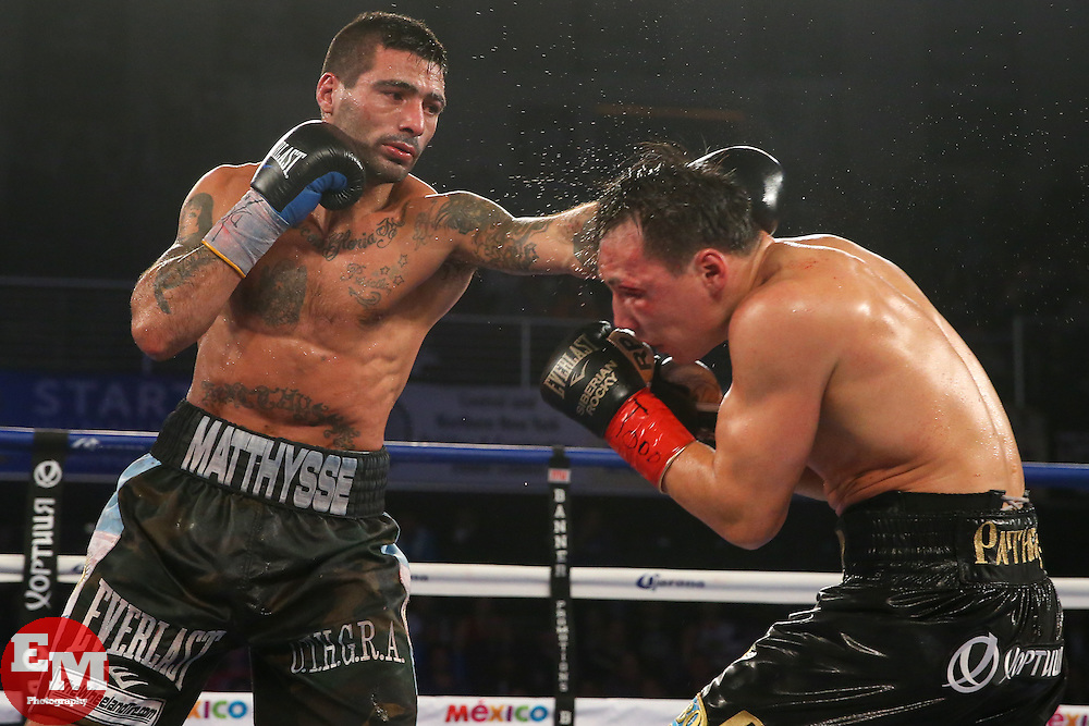 Verona, NY - APRIL 18, 2015: Lucas Matthysse and Ruslan Provodnikov during their main event bout on HBO Boxing after Dark at the Turning Stone Resort and Casino in Verona, NY.  Photo: Ed Mulholland/HBO