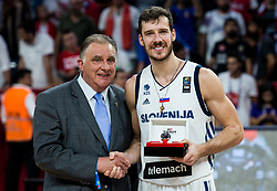 Goran Dragic of Slovenia as Most Valuable Player MVP celebrating at Trophy ceremony after winning during the Final basketball match between National Teams  Slovenia and Serbia at Day 18 of the FIBA EuroBasket 2017 when Slovenia became European Champions 2017, at Sinan Erdem Dome in Istanbul, Turkey on September 17, 2017. Photo by Vid Ponikvar / Sportida