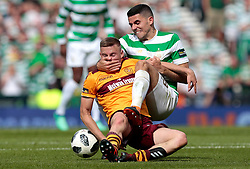Celtic's Tom Rogic (right) competes with Motherwell's Allan Campbell during the William Hill Scottish Cup Final at Hampden Park, Glasgow.