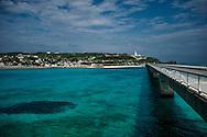 The Kouri Island Bridge, a 2,020 meter-long bridge connecting Kouri Island to Yagaji Island and eventually the main island of Okinawa.  The bridge spans a crystal-clear coral reef.  Okinawa, Japan.