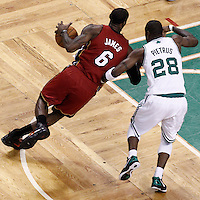 07 June 2012: Miami Heat small forward LeBron James (6) drives past Boston Celtics small forward Mickael Pietrus (28) during first half of Game 6 of the Eastern Conference Finals playoff series, Heat at Celtics at the TD Banknorth Garden, Boston, Massachusetts, USA.
