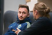 HELSINGBORG , 2017-06-07: Muamer Tankovic blir intervjuad efter U21 landslagets tr&auml;ning p&aring; Olympia, Helsingborg den 7 juni.<br /> Foto: Nils Petter Nilsson/Ombrello<br /> Fri anv&auml;ndning f&ouml;r kunder som k&ouml;pt U21-paketet, annars betalbild.<br /> ***BETALBILD***