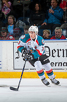 KELOWNA, CANADA - DECEMBER 27: Riley Stadel #3 of the Kelowna Rockets skates with the puck against the Kamloops Blazers on December 27, 2016 at Prospera Place in Kelowna, British Columbia, Canada.  (Photo by Marissa Baecker/Shoot the Breeze)  *** Local Caption ***