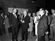 19/08/1988<br /> 08/19/1988<br /> 19 August 1988<br /> Opening of ROSC '88 at the Guinness Hop Store, Dublin. President Patrick Hillery (centre) who officially opened the exhibition chats with David Kennedy (left), CEO of Aer Lingus. Harry Byrne (right)  Financial Director, Guinness Ireland.
