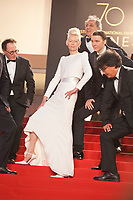 Tilda Swinton, Paul Dano and Bong Joon Ho at the Okja gala screening,  at the 70th Cannes Film Festival Friday 19th May 2017, Cannes, France. Photo credit: Doreen Kennedy