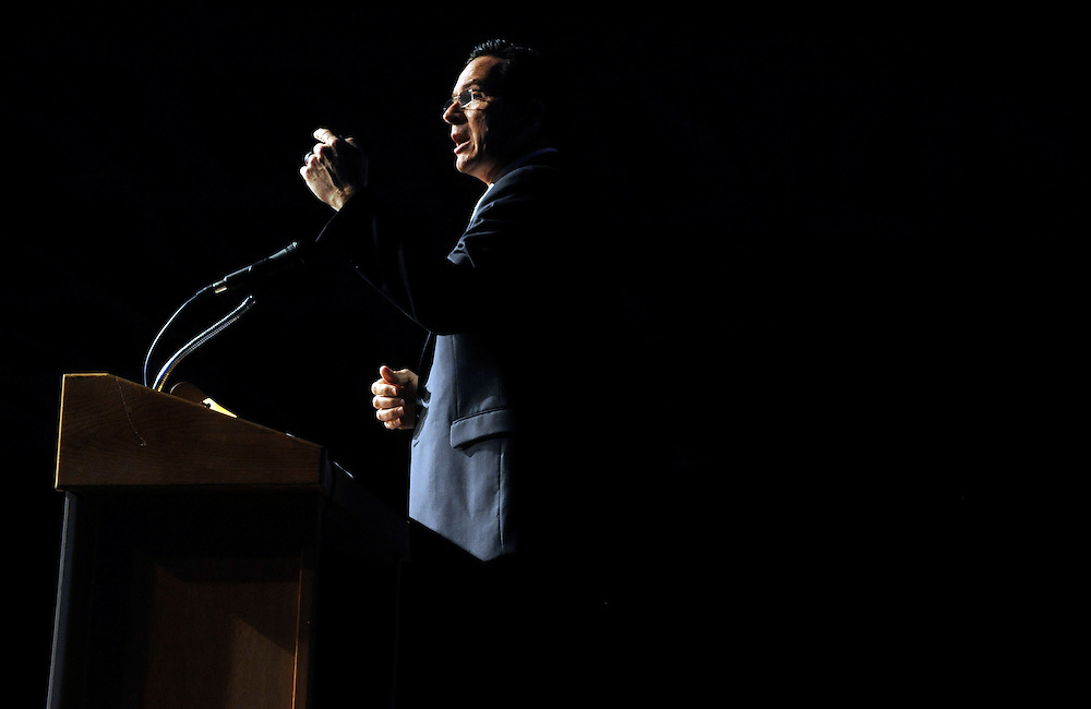 Connecticut Gov. Dannel P. Malloy delivers the keynote speech at an annual Democratic fundraiser, the Jefferson Jackson Bailey Dinner, in Hartford, Conn., Monday, May 16, 2011. (AP Photo/Jessica Hill)