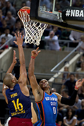 October 5, 2016 - Barcelona, Catalonia, Spain - Peno and Russell Westbrook in action during the NBA Global Games match between FC Barcelona and Oklahoma City Thunder at Palau Sant Jordi in Barcelona, Spain on October 5, 2016. (Credit Image: © Miquel Llop/NurPhoto via ZUMA Press)