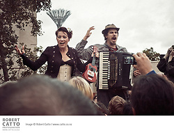 Amanda Palmer and Jason Webley perform at Wellington's Civic Square in an unannounced (apart from Twitter) acoustic 'ninja gig', during her appearance at Webstock 2011.