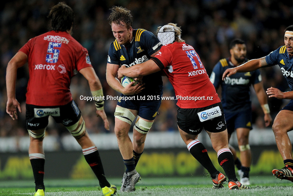 Gareth Evans of the Highlanders looks to break the defence, during the Super Rugby match between the Highlanders and the Lions, at Forsyth Barr, Dunedin, New Zealand, 12 March 2016. Copyright Image: Joe Allison / www.Photosport.nz