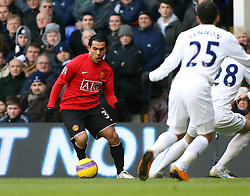 LONDON, ENGLAND - Saturday, February 2, 2008:Manchester United's Carlos Tevez in action against Tottenham Hotspur during the Premiership match at White Hart Lane. (Photo by Chris Ratcliffe/Propaganda)