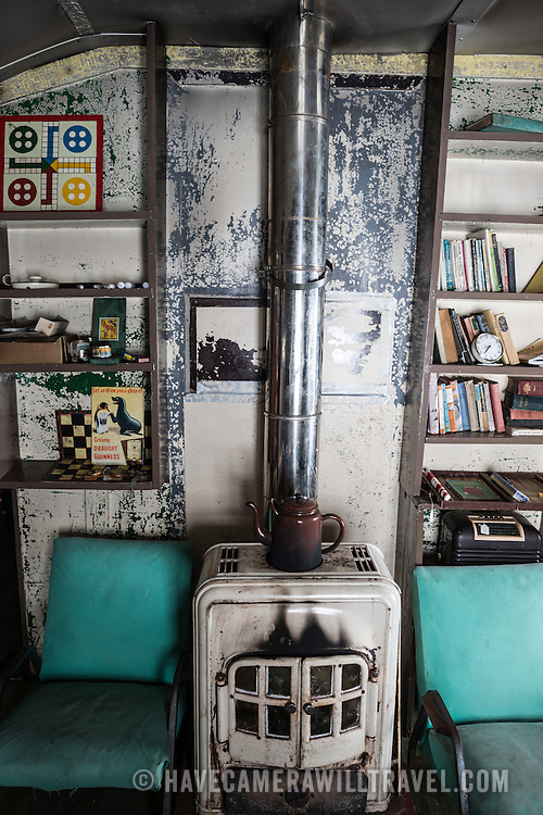 A stove to provide heat in the main living space of Wordie House. Originally known as Base F and later renamed after James Wordie, chief scientist on Ernest Shackleton's major Antarctic expedition, Wordie House dates to the mid-1940s. It was one of a handful of bases built by the British as part of a secret World War II mission codenamed Operation Tabarin. The house is preserved intact and stands near Vernadsky Research Base in the Argentine Islands in Antarctica.