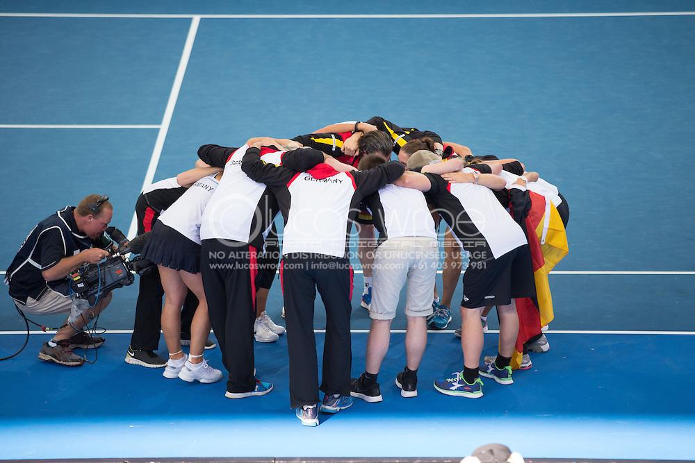 German Team Celebrate Their Win, April 20, 2014 - TENNIS : Fed Cup, Semi-Final, Australia v Germany. Pat Rafter Arena, Brisbane, Queensland, Australia. Credit: Lucas Wroe