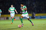 Yeovil Town's Shaun Jeffers during the The FA Cup Third Round Replay match between Yeovil Town and Carlisle United at Huish Park, Yeovil, England on 19 January 2016. Photo by Graham Hunt.