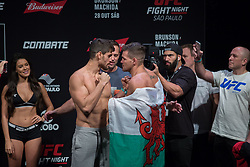 October 27, 2017 - Sao Paulo, Sao Paulo, Brazil - Opponents ANTONIO CARLOS JR of Brazil and JACK MARSHMAN of South Wales face off during the UFC weigh-in event inside the Ibirapuera Gymnasium in Sao Paulo, Brazil. (Credit Image: © Paulo Lopes via ZUMA Wire)