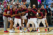 South Carolina Gamecocks get ready before tipoff against the Mississippi State Lady Bulldogs during the NCAA Women's Championship game at the American Airlines Center in Dallas, Texas on April 2, 2017.  (Cooper Neill for The Players Tribune)