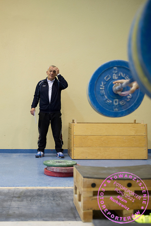 Jacek Chrusciewicz trainer coach of Polish men's national team during training session two weeks before weightlifting IWF World Championships Wroclaw 2013 at the Olympic Sports Centre in Spala on October 08, 2013.<br /> <br /> Poland, Warsaw, September 16, 2013<br /> <br /> Picture also available in RAW (NEF) or TIFF format on special request.<br /> <br /> For editorial use only. Any commercial or promotional use requires permission.<br /> <br /> Mandatory credit:<br /> Photo by &copy; Adam Nurkiewicz / Mediasport