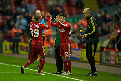 LIVERPOOL, ENGLAND - Wednesday, December 15, 2010: Liverpool's Nathan Eccleston is substituted for Dani Pacheco during the UEFA Europa League Group K match against FC Utrecht at Anfield. (Photo by: David Rawcliffe/Propaganda)