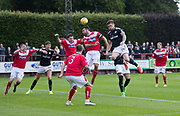 Dundee&rsquo;s Kerr Waddell rises to head goalwards - Brechin City v Dundee pre-season friendly at Glebe Park, Brechin, Photo: David Young<br /> <br />  - &copy; David Young - www.davidyoungphoto.co.uk - email: davidyoungphoto@gmail.com