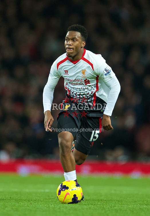 LONDON, ENGLAND - Saturday, November 2, 2013: Liverpool's Daniel Sturridge in action against Arsenal during the Premiership match at the Emirates Stadium. (Pic by David Rawcliffe/Propaganda)