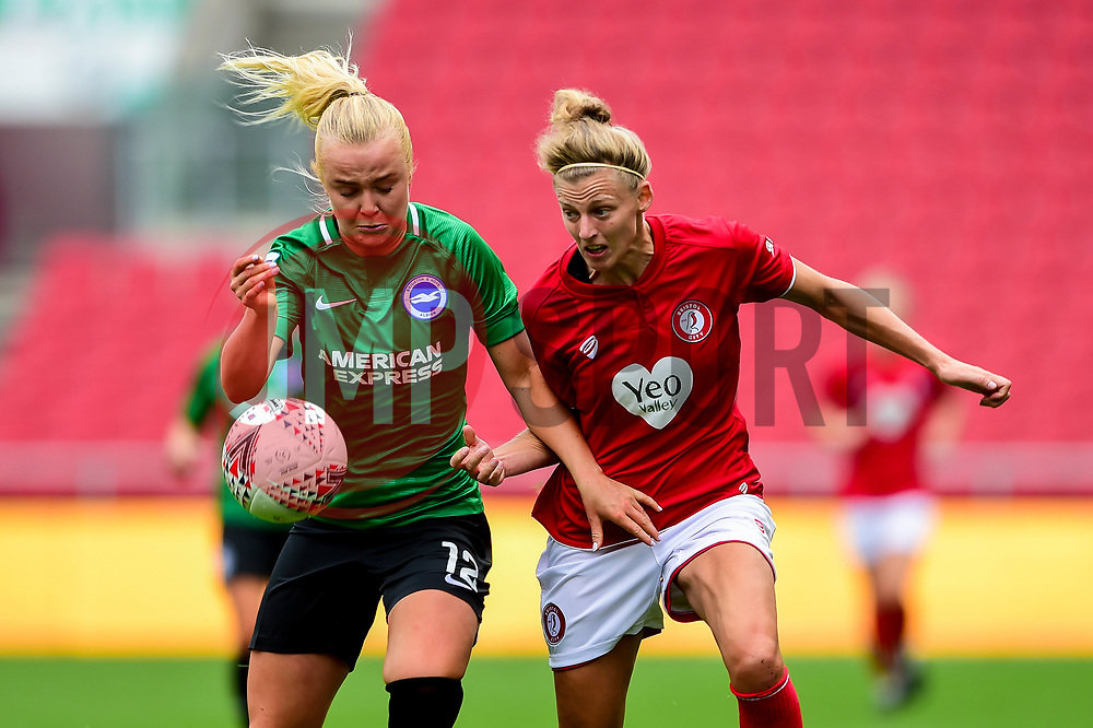 Yana Daniels of Bristol City is challenged by Matilde Lundorf of Brighton and Hove Albion Women - Mandatory by-line: Ryan Hiscott/JMP - 07/09/2019 - FOOTBALL - Ashton Gate - Bristol, England - Bristol City Women v Brighton and Hove Albion Women - FA Women's Super League