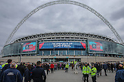 Fans flock up Wembley way for the match during the The FA Cup match between Crystal Palace and Watford at Wembley Stadium, London, England on 24 April 2016. Photo by Shane Healey.
