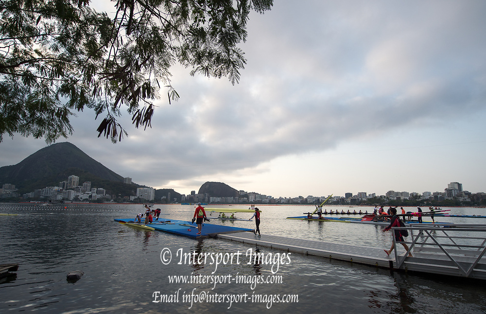Rio de Janeiro. BRAZIL    Boating  General view of the boat park.and across the course.  2016 Olympic Rowing Regatta. Lagoa Stadium,<br /> Copacabana,  &ldquo;Olympic Summer Games&rdquo;<br /> Rodrigo de Freitas Lagoon, Lagoa. Local Time 07:19:19  Tuesday  09/08/2016<br /> [Mandatory Credit; Peter SPURRIER/Intersport Images]