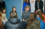 "Queen Mathilde of Belgium during the visit of the school St Guido in Anderlecht who receive the price ""Pesten-dat-kan-niet"". This visit follows the round table on the problematic of harassment chaired by Queen. Brussels, 01 februari 2016"
