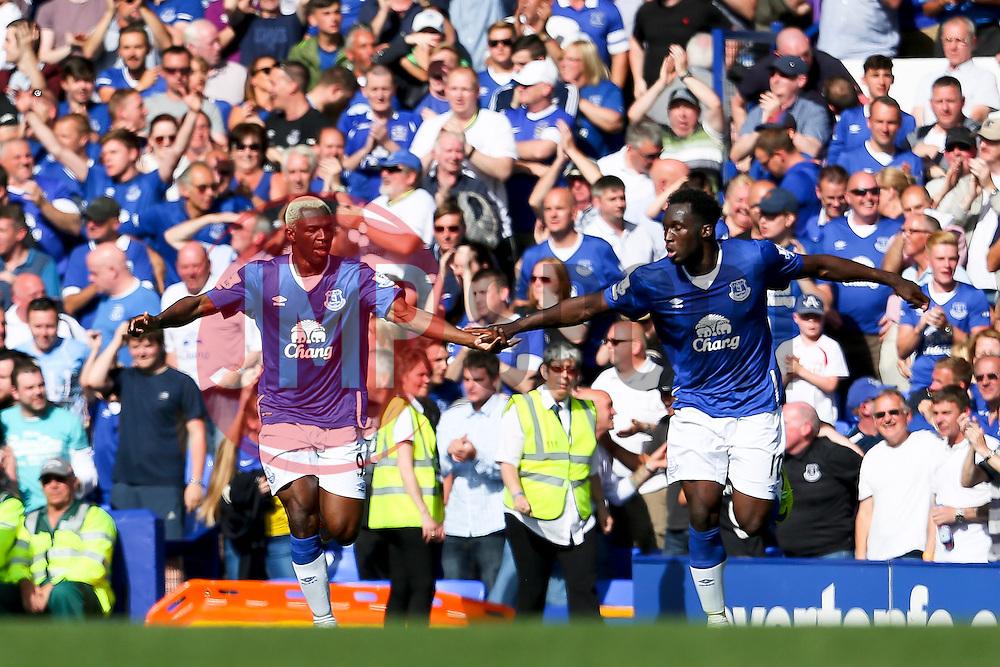 Everton's Arouna Kone celebrates after scoring his sides second goal for 2-2 - Mandatory byline: Matt McNulty/JMP - 07966386802 - 08/08/2015 - FOOTBALL - Goodison Park -Liverpool,England - Everton v Watford - Barclays Premier League