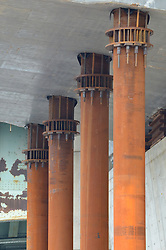 Support Columns, East Tower, New Pearl Harbor Memorial Bridge under Construction at New Haven Harbor Crossing, Connectictut. CONNDOT Contract B, Project #92-618. When complete the alternately named Quinnipiac River Bridge will be first Extradosed Engineered & Designed Bridge in the United States.