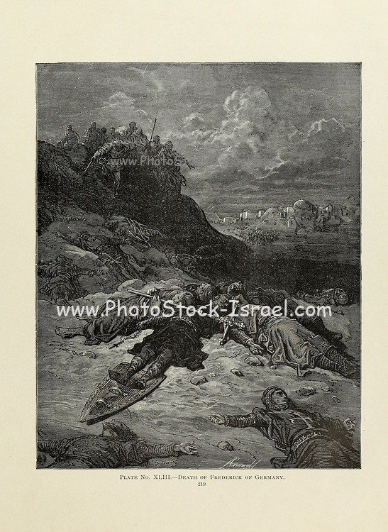 Death of Frederick of Germany [During the Second Crusade. Frederick Barbarossa (Friedrich I., Federico I; 1122 – 10 June 1190), also known as Frederick I ] Plate XLIII from the book Story of the crusades. with a magnificent gallery of one hundred full-page engravings by the world-renowned artist, Gustave Doré [Gustave Dore] by Boyd, James P. (James Penny), 1836-1910. Published in Philadelphia 1892
