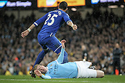 Kevin De Bruyne (Manchester City) goes down with a serious injury during the Capital One Cup semi-final match between Manchester City and Everton at the Etihad Stadium, Manchester, England on 27 January 2016. Photo by Mark P Doherty.