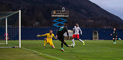 GRÖDIG, AUSTRIA - Tuesday, December 10, 2019: Liverpool's substitute Layton Stewart sets-up the winning goal during the final UEFA Youth League Group E match between FC Salzburg and Liverpool FC at the Untersberg-Arena. (Pic by David Rawcliffe/Propaganda)