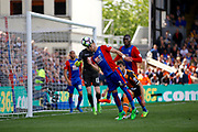 Crystal Palace defender Joel Ward heads clear during the Premier League match between Crystal Palace and Hull City at Selhurst Park, London, England on 14 May 2017. Photo by Andy Walter.